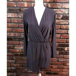 Tobi Long Sleeve Faux Wrap Dress Elastic Waist EUC